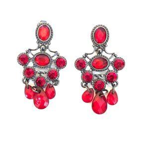Red chandelier earrings (clip on's)